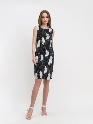 Сукня чорна з принтом | 5441323