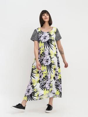 Сукня молочного кольору з квітковим принтом   5441327