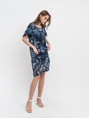 Платье синее с принтом | 5441328