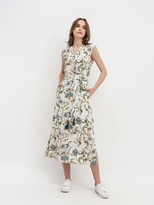 Сукня молочного кольору з квітковим принтом   5441329