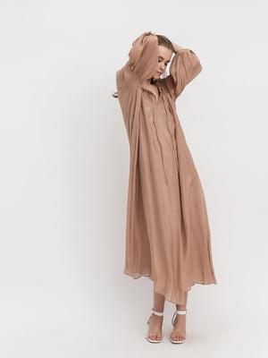 Сукня коричнева з вишивкою | 5441374