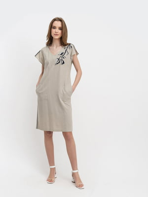 Сукня бежева з малюнком | 5441393