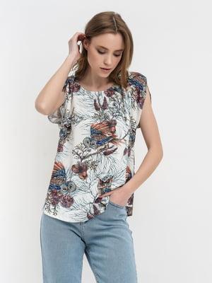 Блуза молочного цвета с принтом | 5483707