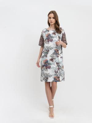 Сукня молочного кольору з принтом | 5483709