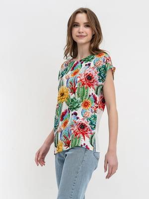 Блуза зеленая с цветочным принтом | 5483710