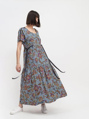 Платье серое с принтом | 5483739