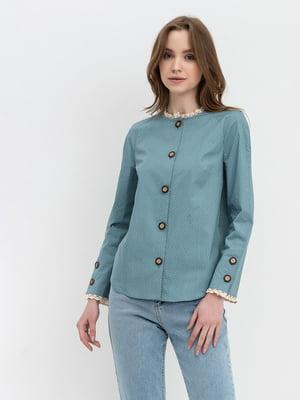 Блуза серо - зеленая в горох | 5739815