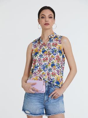 Блуза белая в принт   5741302