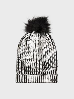 Шапка чорно-сріблястого кольору з декором | 5620381