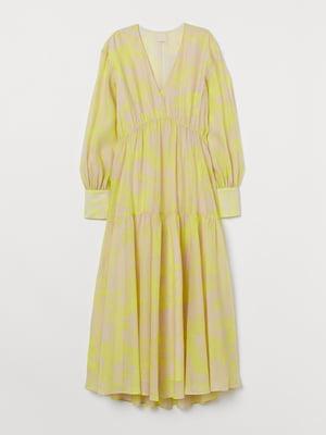 Платье бежевое в принт | 5742854