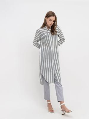 Платье-туника белое в полоску   5703678