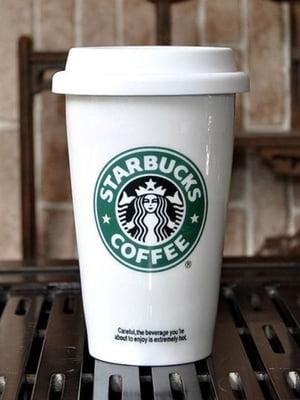 Чашка керамическая с силиконовой крышкой с поилкой Starbucks (250 мл) | 5738041