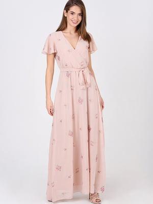 Сукня пудрового кольору у квітковий принт | 5743529