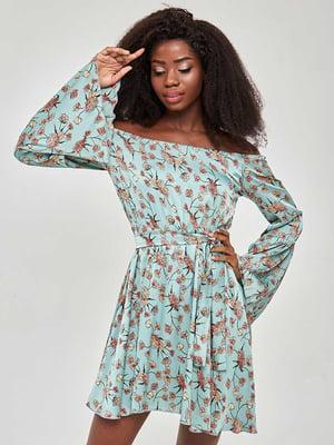 Платье мятного цвета в цветочный принт | 5743748
