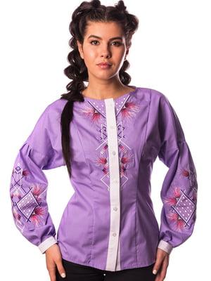 Блуза сиреневого цвета с вышивкой   5743792