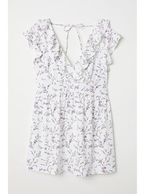 Блуза белая в принт | 4938462