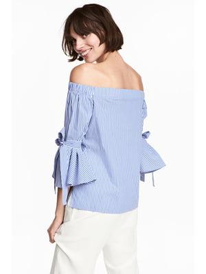 Блуза голубая в полоску | 5744039