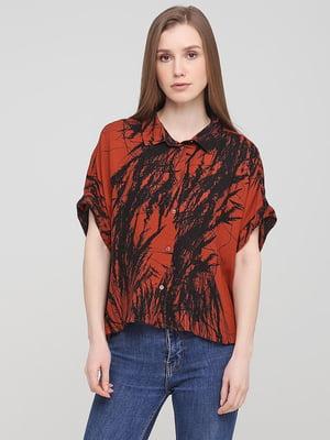 Блуза коричневая с рисунком | 5744899