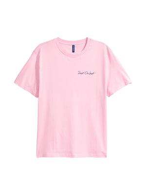 Футболка рожева з принтом | 5744399