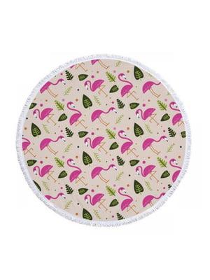 Коврик пляжный «Фламинго и листья» (150-160 см) | 5738146