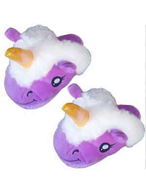 Тапочки фиолетовые «Единорог» | 5738179