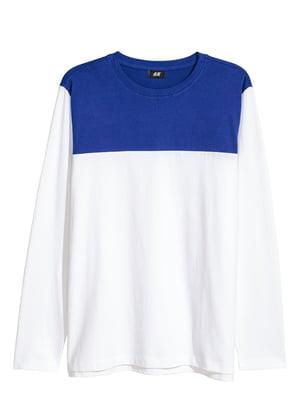 Лонгслив бело-синий | 5745574