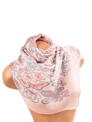 Шарф рожевий у квітковий принт | 5746218