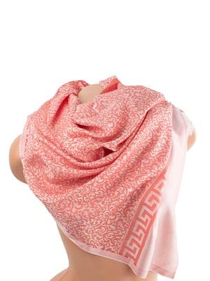 Палантин рожевий в принт | 5746018