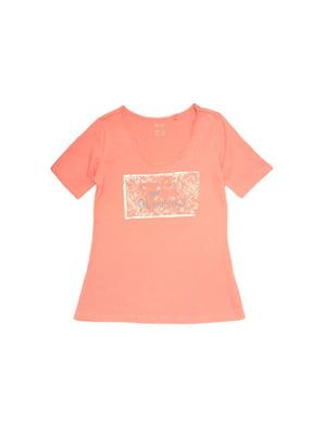 Футболка коралового кольору в принт | 5752085