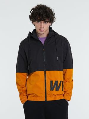 Куртка синьо-помаранчева з принтом | 5752444