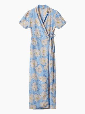 Сукня блакитна в принт | 5742116