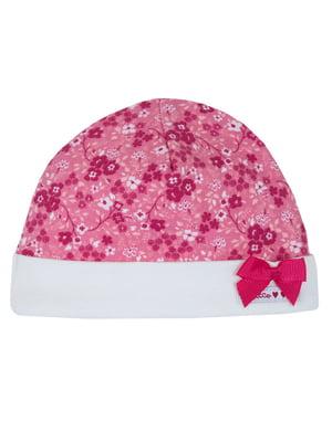 Чепчик розовый в цветочный принт | 5750800
