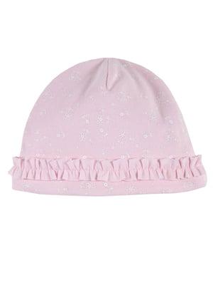 Чепчик розовый в цветочный принт | 5750801