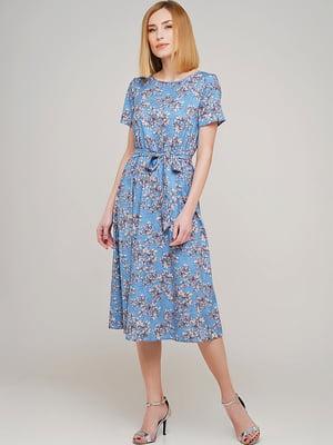 Сукня блакитна у принт | 5752743