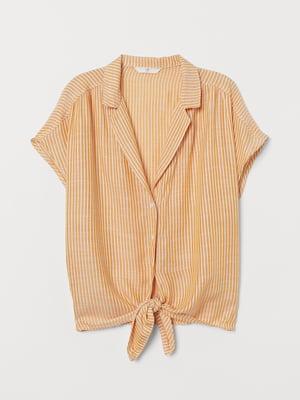 Блуза горчичного цвета в полоску | 5754955