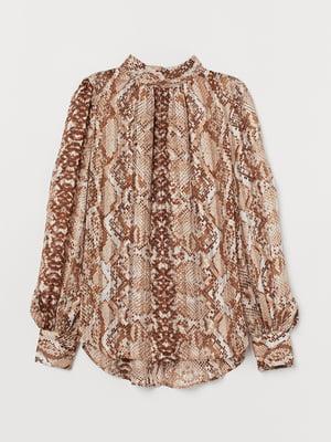 Блуза бежевая в принт | 5754979