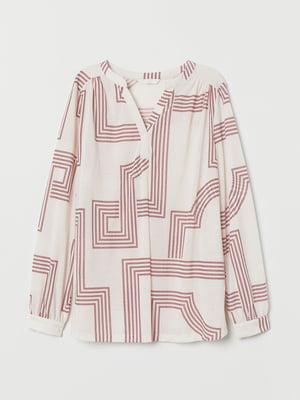 Блуза кремового цвета в принт   5755028