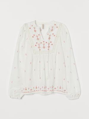 Блуза молочного цвета с узором | 5755126