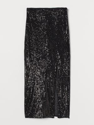 Юбка черная с пайетками | 5755455