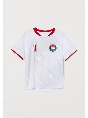 Футболка спортивная белая с логотипом   5756462