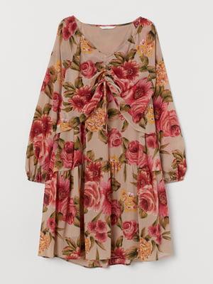 Платье для беременных бежевое в цветочный принт   5756257