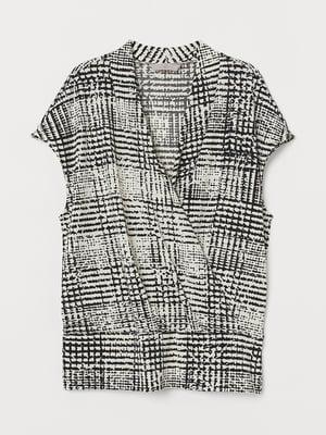 Блуза черно-белая в узор   5756272