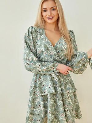 Сукня оливкового кольору в принт | 5756691