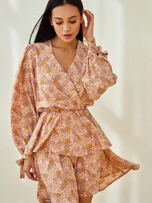 Сукня бежева в принт | 5756705