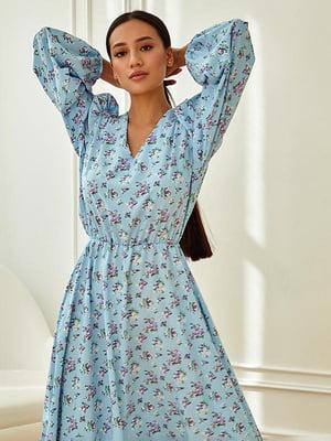 Сукня блакитна в принт | 5756706