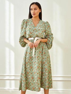 Сукня кольору хакі в принт | 5756707