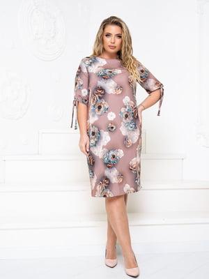 Платье бежевое в принт   5756725