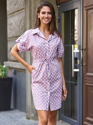 Платье сиреневое в горошек | 5715257
