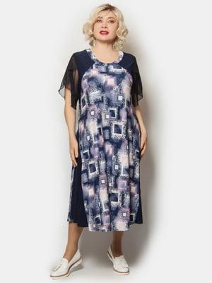 Платье синее в абстрактный принт   5757303