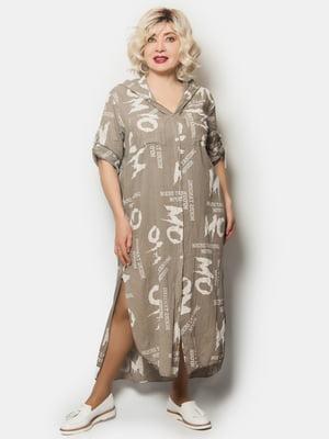 Платье оливкового цвета в принт | 5757309